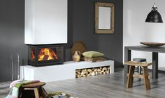 Instyle Triple Low<sup>EA</sup> 3-sided . insert wood stove. Pete likes shelf, flue in white against dark
