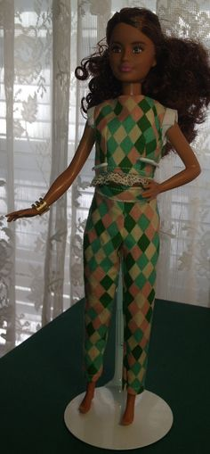 Petite Barbie Harlequin Crop Top & Pants by AuntieLousCrafts