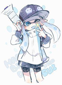せん  @sen_squid Nintendo Splatoon, Splatoon 2 Art, Splatoon Comics, Illustration Kawaii, Fanart, Cute Characters, Cartoon Art, Cute Art, Chibi