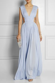 VIONNET Cutout plissé-crepe gown $3,785 EDITOR'S NOTES Vionnet's sky-blue crepe gown from Spring '14 runway is completely cutaway at the sides and back, but fitted at the bust to ensure it stays in place. Beautifully designed with swishy plissé pleats, this floor-sweeping style will look especially striking with rose gold jewelry.  Shown here with: Monica Vinader earrings and ring, Jennifer Fisher cuff, IAM by Ileana Makri ring, Gianvito Rossi shoes, Charlotte Olympia clutch.