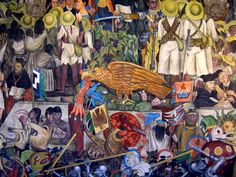A mural by Diego Rivera at the Presidential Palace in Mexico City D.F. Diego painted the history of Mexico on a wall. Stunning!