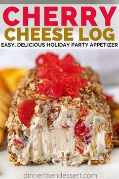 Cherry Cheese Log is a delicious holiday party app. - Cherry Cheese Log is a delicious holiday party appetizer with cream cheese, maraschino cherries, and rolled in pecans. Cheese Ball Recipes, Appetizer Recipes, Thanksgiving Recipes, Holiday Recipes, Holiday Party Appetizers, Cheese Log, Food Log, Christmas Snacks, Christmas Cheese