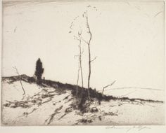 """""""Road and Cedar Tree,"""" Chauncey F. Ryder, ca. 1925, drypoint, 8-3/8 x 6-1/2"""" (image), Indianapolis Museum of Art."""