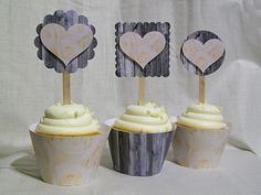 Handmade cupcake toppers/party picks OR wraps/sleeves - set of 12 - 3D Hearts, natural wood look, yellow roses, camouflage, rustic, country