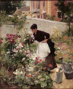 Gardening artwork by victor gabriel gilbert oil painting & art Gabriel, Classic Paintings, Beautiful Paintings, Garden Painting, Garden Art, Illustration, Victorian Art, Art For Art Sake, Flower Market