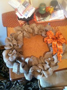 Me and pegs first attempt at burlap wreath!