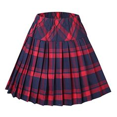 Urban CoCo Womens Elastic Waist Tartan Pleated School Skirt Small series 1 red *** Be sure to check out this awesome product.