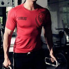 31cd6e320fc28 Short sleeve T-shirt mens summer fashion GYMS Top tees Bodybuilding Fitness