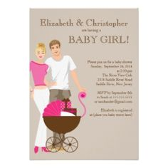 I Love This Modern Coupleu0027s Baby Girl Shower Invitation With A Picture Of  Mom And Dad
