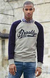 Grey Navy Brooklyn Sweat Shirt from nextdirect.com