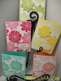 Crazy About You Birthday Cards using Stampin' Up stamp set and coordinating Medallion Flower punch. Stamping Up Cards, Rubber Stamping, Cool Cards, Easy Cards, Flower Cards, Flower Stamp, Happy Birthday Cards, Creative Cards, Greeting Cards Handmade