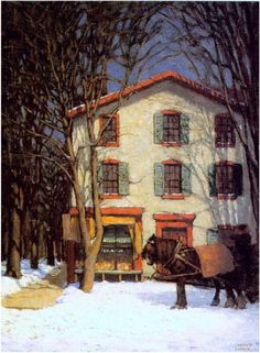 The Corner Store - Harris, Lawren (Canadian, 1885 - Fine Art Reproductions, Oil Painting Reproductions - Art for Sale at Galerie Dada Tom Thomson, Emily Carr, Canadian Painters, Canadian Artists, Winter Painting, Winter Art, Landscape Art, Landscape Paintings, Landscapes