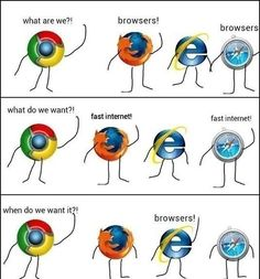 Browsers! Why did it take me 45 seconds to laugh? I guess I'm IE..... ThinkGeek