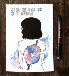 "⭐️""keep some room in your heart for the unimaginable"" ⭐️ :) that is one of the older sketches which i did in august but never finished them because of inktober :) i just wanted to make it colorful but keep my inktober ones black and white. thats why this sketch was waiting mooonths for getting finished :) i have a whole bunch of other sketches laying around as well and i will try to finish them now :) sorry for the weird body proportions. like i said, old sketch  #art #artsy #artist #artw..."