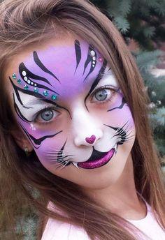 40 Easy Tiger Face Painting Ideas for Fun - Kinderschminken - Accesorios para Maquillaje Face Painting Tutorials, Face Painting Designs, Paint Designs, Painting Templates, Girl Face Painting, Painting For Kids, Body Painting, Animal Face Paintings, Animal Faces