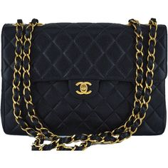Pre-Owned Chanel Black Caviar Jumbo Quilted Classic 2.55 Flap Bag (29,510 CNY) ❤ liked on Polyvore featuring bags, handbags, black, structured handbags, quilted chain purse, genuine leather handbags, chanel purse and holographic purse