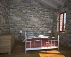Chios (Greece) Patrika, renovation of an old medieval house, bedroom