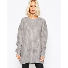 Cheap Monday Chunky Oversize Knit Sweater ($99) ❤ liked on Polyvore featuring tops, sweaters, grey, oversized chunky knit sweater, gray knit sweater, knit tops, oversized grey sweater y over sized sweaters