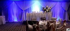Add a special touch to your event with this lighted pipe and drape with poly sateen white fabric.