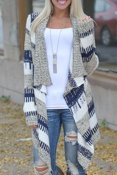 Open Front Jacquard Long Cardigan BLUE AND WHITE: Sweaters | ZAFUL