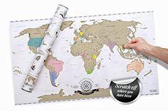 Weltkarte zum Rubbeln DELUXE - Scratch off World Map mit Rubbellack