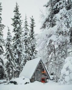 Adorable little cabin - Muonio, Finland // photography by Daniel Taipale (dansmoe) A Frame Cabin, A Frame House, Winter Cabin, Cozy Cabin, Cozy Winter, Winter House, Cabin In The Woods, Winter Scenery, Snow Scenes