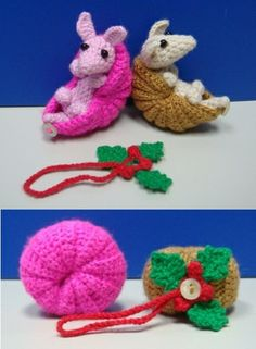 2 armadillo with one holly-leaf-ring. You can turn the armadillo into a Christmas ornament. ^_^