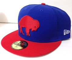 a92e603c93962 FITTED 7-1 2 New Era 59Fifty BUFFALO BILLS HAT Blue Red Throwback 70s Logo  Mens