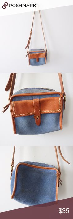 """Madewell Camden Crossbody Bag Madewell """"Camden"""" blue suede crossbody bag. Discoloration in blue suede, but still lots of life left to it! Price reflected. Adjustable strap, inside in good condition. Front and inside pocket. Length is about 7.5 inches and height is around 7 inches. Smoke and pet free home. Madewell Bags Crossbody Bags"""