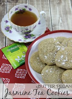 Butter Pecan Jasmine Tea Cookies made with Gluten-Free Cake Mix these cookies are easy to make and flavoured with Alokozay Tea #TEAdays