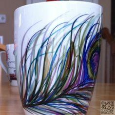 19. #Peacock Feather Mug - #Enfourchez votre #Doodle ! 24 sharpie #artisanat d'essayer aujourd'hui... → DIY