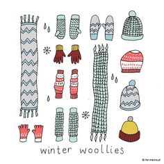 Winter Woollies Square Hand Drawn Illustration Print by n0meo