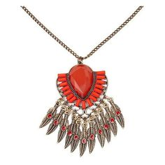 BKE Chunky Stone Necklace ($15) ❤ liked on Polyvore featuring jewelry, necklaces, feather charm, feather necklace, chunky necklace, feather jewelry e bke jewelry