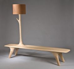 Korean designer Kwon Jae Min has created a series of wooden pieces that include benches, lighting and coat racks