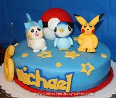 Homemade Pokemon Birthday Cake: My son asked for a Pokemon party for his 6th birthday. So I browsed around the web at all the different cakes, and then combined the various pieces I liked