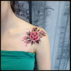 Butterfly With Flowers Tattoo, Pink Rose Tattoos, Beautiful Flower Tattoos, Pretty Tattoos, Belly Tattoos, Hair Tattoos, Mini Tattoos, Body Art Tattoos, Roses On Shoulder