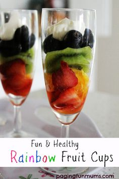 Fun and healthy Rainbow Fruit Cups. Perfect for parties, afternoon snacks or playdates!