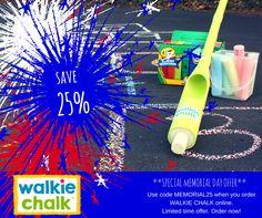 Get 25% off this Memorial Day on your online order of #WalkieChalk! use code MEMORIAL25.