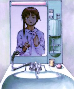 Lain Iwakura from Serial Experiments Lain art by Yoshitoshi ABe Lain has a surprising amount of subtly disturbing artwork, and that's just one reason I enjoy the series so much. Old Anime, Manga Anime, Anime Art, Japanese Animated Movies, Neon Genesis Evangelion, Love Is All, Art Inspo, Art Reference, Cool Art