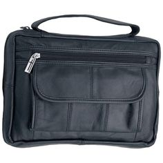 BIBLE Cover NEW BLACK GENUINE LEATHER BIBLE COVER PURSE CASE TOTE ZIPPER BAG
