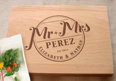 Mr and Mrs Custom Cutting Board Bridal Shower Wedding Present Personalized Kitchen Chopping Board Wedding Gifts For The Couple Custom Cutting Boards, Diy Cutting Board, Personalized Cutting Board, Bridal Shower Gifts, Bridal Gifts, Wedding Gifts, Wedding Ideas, Custom Woodworking, Diy Gifts