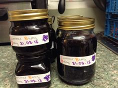 Blackberry and Apple Jelly; Justin and Rebecca picked 2.8 kilos yesterday along the path behind our back garden. Plus windfall apples from the allotment.