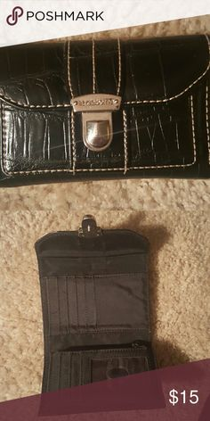 💕1 HOUR SALE💕Liz Claiborne black wallet EUC.. white stitching... that's not a scratch on the wallet its the lighting ... Opens up to a pocket..... See pic 2 for inside and the back is a place for coins... ✅Make an offer using OFFER button ONLY ✅Negotiations welcome 🚫No trades 🚫No PayPal Liz Claiborne Bags Wallets
