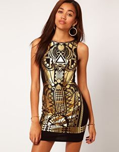 Enlarge River Island Gold Foiled Bodycon Dress