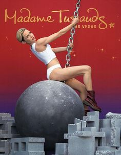 Madame Tussauds Debuts Pop Superstar Miley Cyrus' Wax Figure atop a Wrecking Ball in Front of The Venetian Las Vegas (Photo credit: Isaac Brekken/Getty Images for Madame Tussauds).