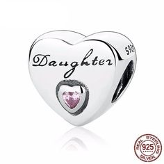 Daughter's Love Pink CZ 925 Sterling Silver Charm Beads Fit European Charms Bracelet Y Silver Beads, Silver Charms, Bracelet Pandora Charms, Charm Bracelets, Diy Bracelet, Pandora Jewelry, Bangle, Argent Sterling, Sterling Silver