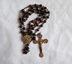 Antique Rosary 1890's Era Capped Sacred Heart Garnet Red