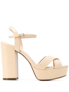 Eggshell nude leather platform sandals from Schutz featuring an open toe, crossover straps to the front, an ankle strap with a side buckle fastening and a high heel. High Heels Plateau, Platform High Heels, Burberry Handbags, Open Toe, Heeled Mules, Ankle Strap, Women Wear, Sandals, Designer Purses