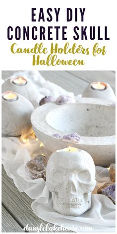 Easy DIY Concrete Skull Candle Holder for Halloween! Looking for concrete Halloween decorations? These DIY skull candle holders work inside or outside. DIY Halloween concrete skulls are easy to make. Love this DIY skull decor and DIY skulls for Halloween. Cool DIY skull candle idea that is durable for outdoor use. DIY skull Halloween decor inspiration. Click for more DIY Halloween decoration ideas! Modern Halloween, Halloween Prints, Halloween Diy, Decor Crafts, Home Crafts, Skull Candle, Diy Concrete, Skull Decor, Fall Diy
