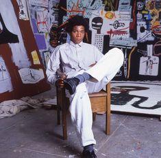 Jean Michel Basquiat inside his studio